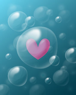 Bubbles under water with a pink heart